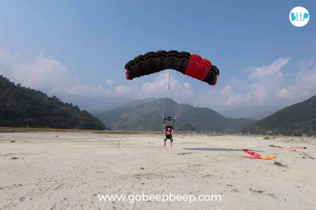 Nepal Skydive pokhara landing with gobeepbeep